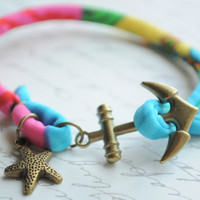 IN STOCK--Summer Bracelet No.49-- Anchor bracelet--Patterned Fiber and Bronze anchor clasp with starfish charm