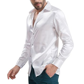 Men's Long-Sleeve Button Down Smooth Shirt