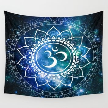 Om Mandala : Blue Green Galaxy Wall Tapestry by 2sweet4words Designs