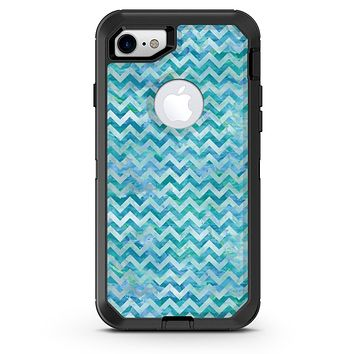 Aqua Basic Watercolor Chevron Pattern - iPhone 7 or 8 OtterBox Case & Skin Kits
