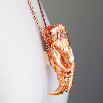 REAL Animal skull muskrat necklace hand gilded with green variegated copper leaf gold and copper chain real taxidermy necklace