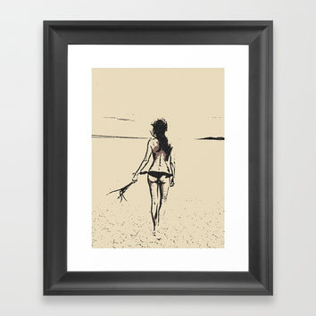 Bikini Girl - sexy conte, abstract erotic nude, kinky topless brunette at beach, hot slim naked body Framed Art Print by Casemiro Arts - Peter Reiss