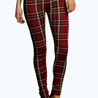 Raquel Check Print Wet Look Panel Leggings
