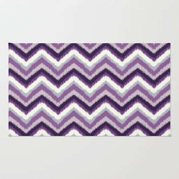 Ikat Chevron: Purple Tonal  Area & Throw Rug by Eileen Paulino