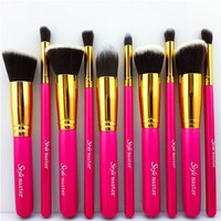 Style Master New Fashion 10pcs Rose Color Makeup Brush Set Professional Cosmetics Blending Blusher Liquid Foundation Brush Kabuki Tools with Free Bag