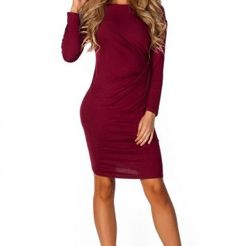 Mariella Burgundy Red Long Sleeve Draped Jersey Dress