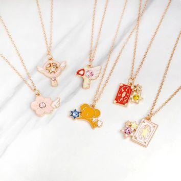 Lovely Cute Star Stick Card Wand Bird Rabbit Sakura Pendant Necklace CARDCAPTOR SAKURA Anime Jewelry Gift for women girls