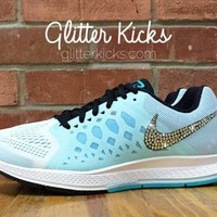 Tiffany Blue Nike Air Zoom Pegasus 31 Bling Glitter Kicks Running Shoes - Customized W