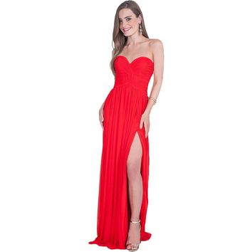 Terani Couture Strapless Open Back Formal Dress