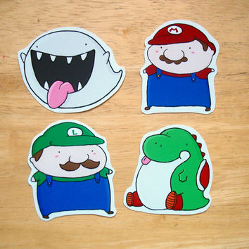 Super Mario Sticker Set: Mario, Luigi, Yoshi and Boo