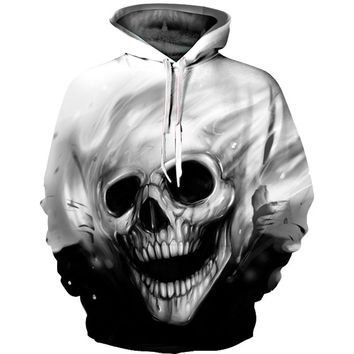 Cloudstyle 3D Hoodies Autumn Winter Skull Printing Sportwear Casual Style Outwear Men's Pullover Fashion Sweatshirt With Hat