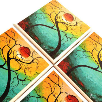 MADART Ceramic Tile Coasters Twisting Love Sunset Drink Set