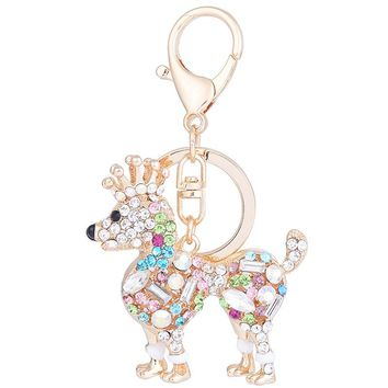 Rhinestone Crown Dog Dachshund Keychain