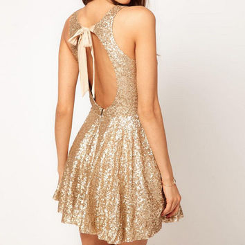 SEXY SEQUINED BACKLESS DRESS