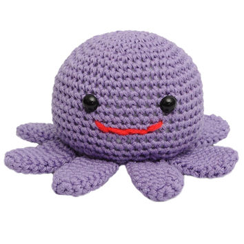Purple Octopus Handmade Amigurumi Stuffed Toy Knit Crochet Doll VAC