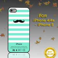 Mustache Mint Stripes  - Photo on Hard Cover - For iPhone Case ( Select An Option )
