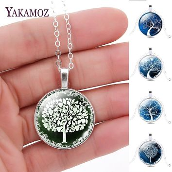 2017 Fashion Silver Color Chain Long Love Necklaces Collares For Women Tree Of Life Glass Cabochon Pendant Necklaces Jewelry