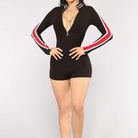 All Zipped Up Romper - Black/Red