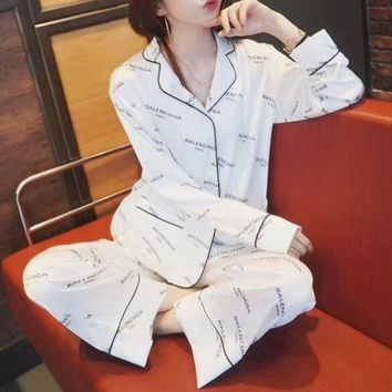 DCCK6HW Balenciaga' Women Fashion Logo Letter Print Long Sleeve Cardigan Trousers Sleepwear Set Two-Piece