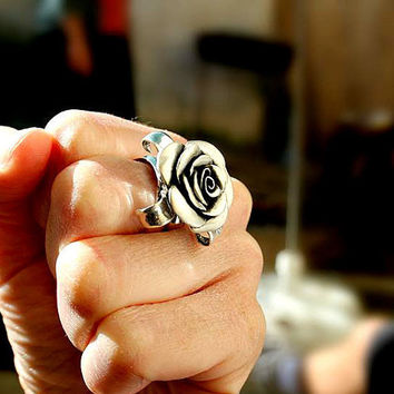 Flower ring, rosebud sterling silver rose handcarved handmade feminine romantic floral jewelry sterling silver adjustable ring summer flower