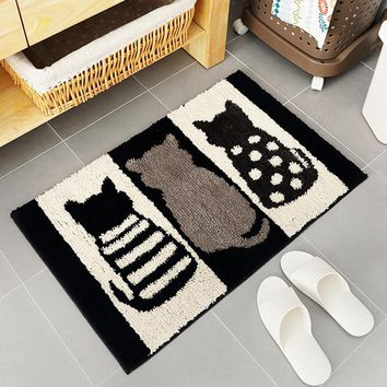 Autumn Fall welcome door mat doormat Welcome  Entrance Black White Cat Mat Hallway Simple Printed Anti-Slip Floor Mat Area Rugs Custom Front  Carpet AT_76_7