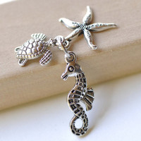 Antique Silver Seahorse Starfish Turtle Ocean Creature Kit Charms Pendants Set of 10 A8262