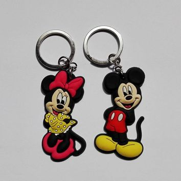 20PCS Mickey minnie Key chains Action figures Keyring Bag Parts & Accessories Kids Party Gift