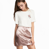 Short Satin Skirt - from H&M