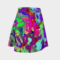 Psychedelic abstract Flare Skirt