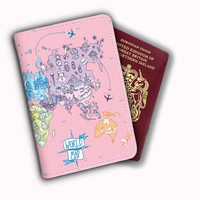 Cute World Map Pink Leather Passport Covers