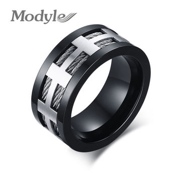 Black Punk Men Ring Wide Fashion Stainless Steel Cross Charm Wedding Rings for Men