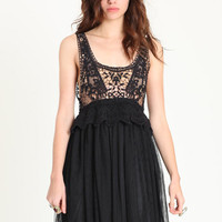 Waking Dream Crochet & Tulle Dress in Black - $43.00 : ThreadSence.com, Your Spot For Indie Clothing & Indie Urban Culture