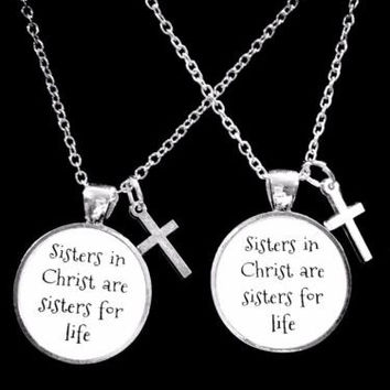 Sisters In Christ Cross Christian Church Friend Gift Friendship Necklace Set