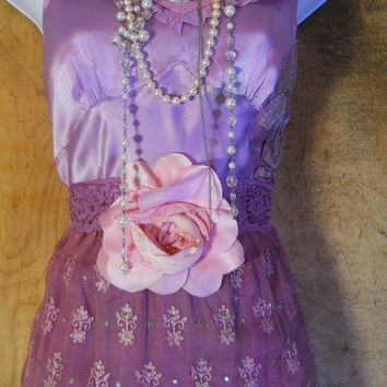 Purple beaded dress maxi sequins lace gypsy boho rose  romantic small  by vintage opulence on Etsy