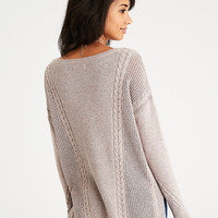 AEO Mixed Stitch Cable Sweater, Light Brown