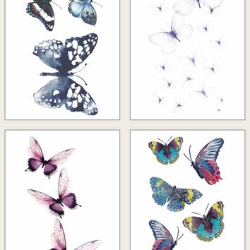 Butterfly Pattern Tattoo Sticker 4sheets