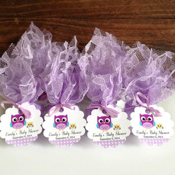 20x Baby shower candles, personalized lavender lace covered baby shower votive candles
