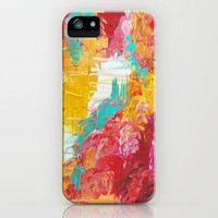 AUTUMN SKIES - Amazing Fall Colors Thunder Storm Rainy Sky Clouds Bold Colorful Abstract Painting iPhone Case by EbiEmporium | Society6