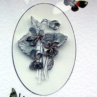 Monochrome Flowers Hand-Crafted 3D Decoupage Card - Blank for any Occasion (1679)