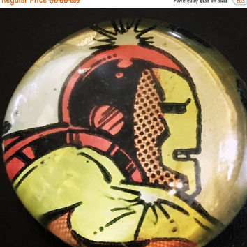 On Sale Iron Man Comic Glass Pebble Magnet
