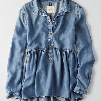 AEO Chambray Babydoll Shirt , Medium Wash