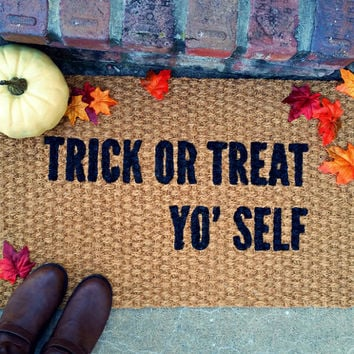 Halloween Doormat - Trick or Treat Yo' Self – Hand Painted Coir Outdoor Rug – Halloween Decor - Welcome Mat - Funny Door Mat