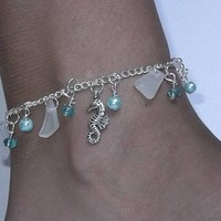 Seahorse Anklet with Aqua Pearls and Crystals