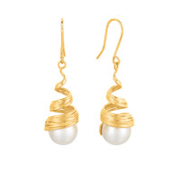 Coil Inspired Pearl Earrings In 14K Gold
