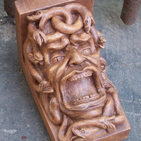 Gargoyle shelf bracket, Medusa Renaissance corbel, wood finish, cast stone, resin,  Cast Shadows Studio,  Richard Chalifour