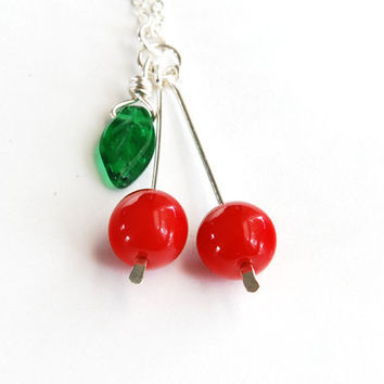 Cherry Necklace. Glass Cherry Necklace. Sterling Silver Chain