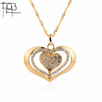 18K Gold Plated Rhinestone Heart Pendant Necklace Fashion Jewelry Crystal Heart Women