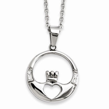 Stainless Steel Claddagh CZs Pendant On Necklace