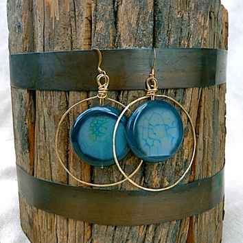 Blue Modern Agate Round Hoop Earrings, statement, stone, hammered, geometric, gift for mom, boho, hippie, large earrings, dragon vein agate