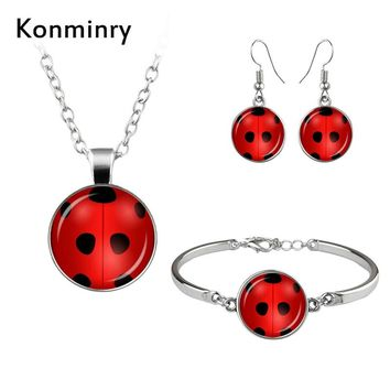 Konminry Fashion Miraculous Ladybug Sign Set Jewelry Cute Insect Glass Dome Bracelets Stud Earrings Necklace For Women Girl